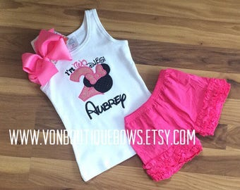 Pink mouse bow Personalized Boutique Number Birthday two 2nd flutter Girls Applique Short Long Sleeve Shirt Tank icing shorts outfit