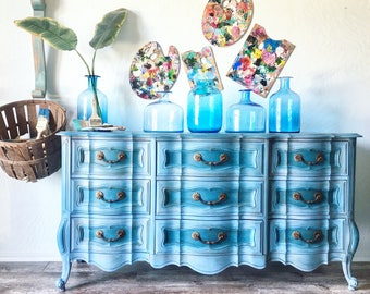 Jaw Dropping Dresser in Beautiful Two Tone Blue