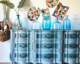 Turquoise Vintage French Provincial Dresser