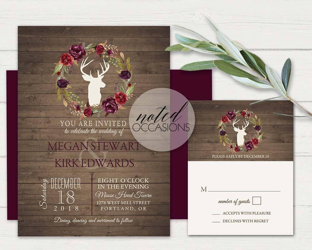 Deer Wedding Invitations: Rustic Winter Wedding Invitation Deer Antlers Purple Burgundy