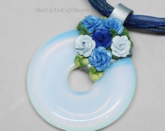 SALE - Blue Roses and Opalite Donut Necklace, Opalite Pendant, Opalite Necklace, Rose Necklace, Ribbon Necklace, Polymer Clay Pendant