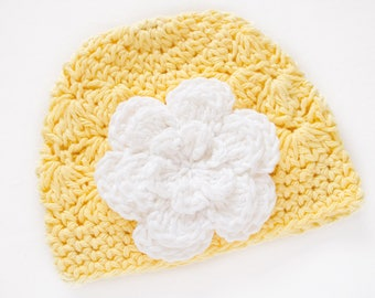 Crochet Baby Hat / Newborn Girl Hat / Yellow Hat / Baby Beanie Hat / Baby Shower Gift Girl / Hats For Babies / Newborn Beanie Girl