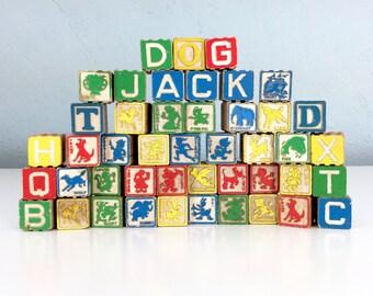 Vintage Disney Children's Blocks, Antique Wooden Block, ABC Toy Block, Alphabet Blocks, Letters and Numbers, Childrens Room Decor