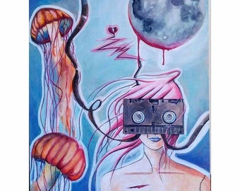 18-in x 24-in Original Painting-Jellyfish and VHS