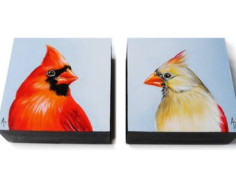 Cardinal painting pair, cardinal art, red bird painting for wedding anniversary gift, red songbird, winter or spring