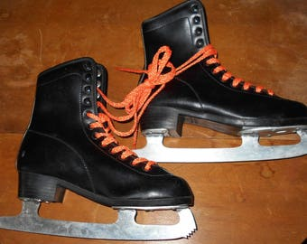 Vintage Ice Skates - CCM - Size 4 - Black Ice Skates - Outdoor Ice Skating - Winter Skates