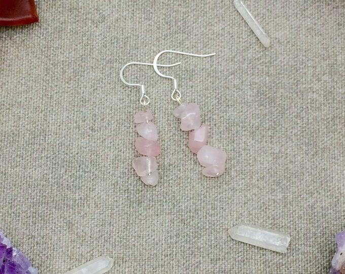 Rose Quartz Crystal Chip Earrings Rainbow Quartz Earrings Silver 14k Gold Filled Rose Gold Filled Quartz Crystal Earrings