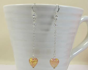 Venetian Rose Pink and Gold Mini Heart & Chain Earrings, Murano Glass Swarovski 925 Sterling Earrings, Rosy Pink Hearts w Goldfoil Earrings