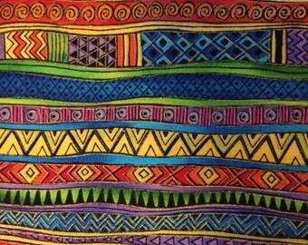 Fabric Laurel Burch Basics Gilded Stripe Bright Rare Out of Print 100% Cotton Fat Quarter FQ Eustheelf L7