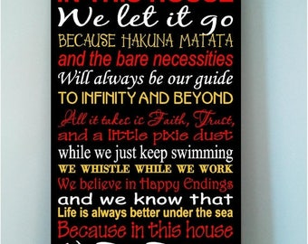 On Sale Personalized Family Rules We Do Disney wooden subway art sign mulitcolor style-In this house we let it go because..