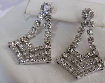Vintage earrings, crystal stud dangle earrings, bridal wedding earrings, Art Deco style earrings, vintage jewelry