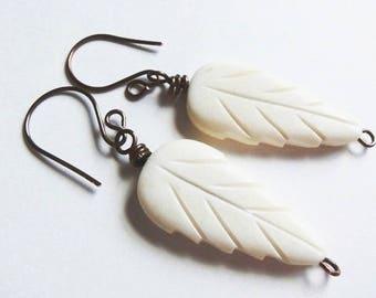 Carved Bone Feather Leaf Earrings, Vintage Bead