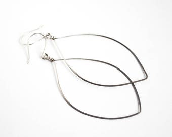 Silver Petal Earrings, Large