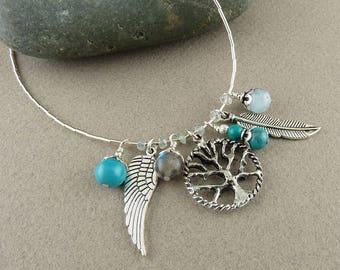 SALE! Protection Necklace with Turquoise, Aquamarine & Labradorite (379)