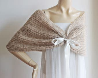 Beige Bridal Capelet / Wedding Wrap Shrug Bolero/Hand Knit Mohair Shawl-Beige and Brown Marbled Wool Cape