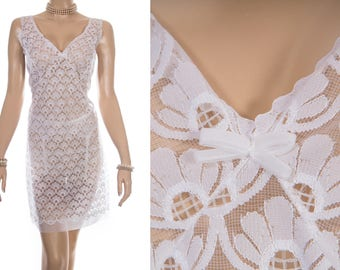 As new unworn 'Schiesser' silky soft sheer white nylon and stunning floral lace front panel detail 70's vintage full slip petticoat - PL1709