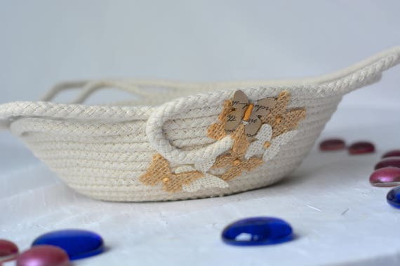 Cute Desk Accessory Bowl, Handmade Butterfly Basket, Modern Clothesline Basket, Lovely Ring Tray,  hand coiled natural rope basket