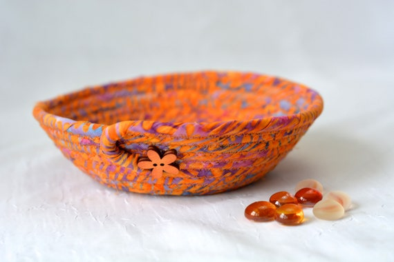 Boho Candy Bowl, Orange Fabric Basket, Boho Key Holder Basket, Fall Candy Corn Bowl, Halloween Decor, Cute Desk Accessory Basket