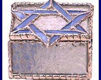 """Stained Glass Jewelry Box - Jewish Design - Blue Star of David - Bat Mitzvah Gift Idea - Jewish Gift - Glass Box - 3"""" x 3 1/2"""" - 0042-B-CC"""