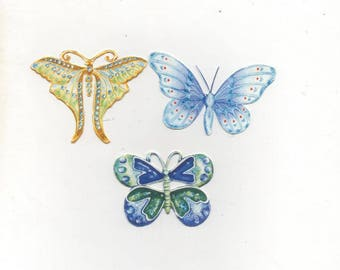 65 - Set of ornaments butterflies for scrapbooking or cards