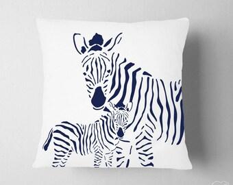 Navy Nursery Decor , Navy Safari Nursery , Boy Room Zoo Navy Decor , Zebra Pillow, Kids Mama Baby Zebra Pillow, Baby Gift Boy Navy
