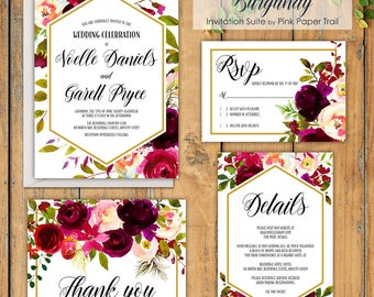 Burgundy Floral Printable Wedding Invitation Suite Roses Floral Wedding Invitation Set Print Your Own