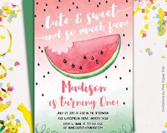 Watermelon Birthday Party Invitation Summer Sweet Watermelon Printable Birthday Invitation