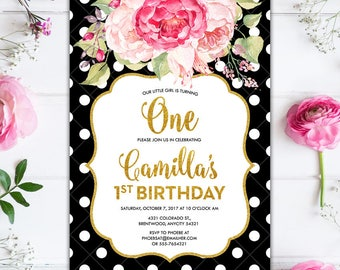 Black and White Polka Dots and Pink Floral and Gold Glitter Glam Girl Birthday Party Printable Invitation