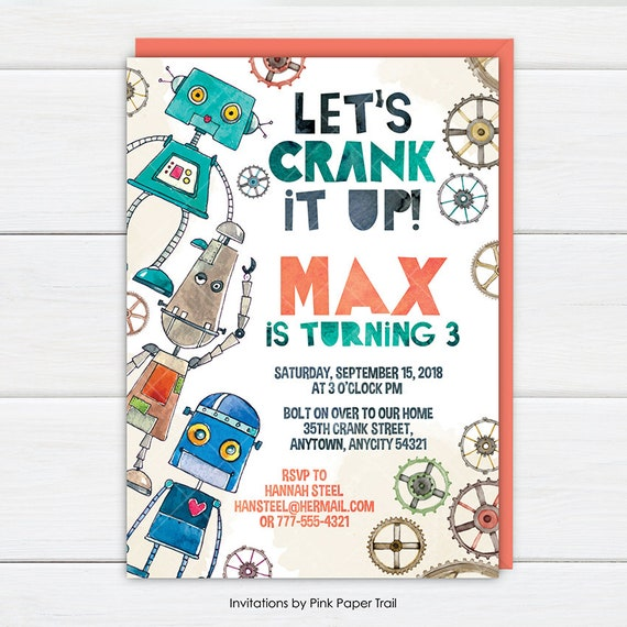 Retro robots birthday party invitation lets crank it up robot il570xn filmwisefo