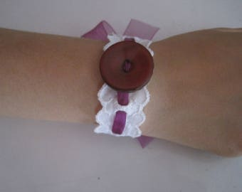 Boho Bracelet, Cotton Lace Wrist Band, Trimming, Fabric and Button Wrap Bangle, White and Purple