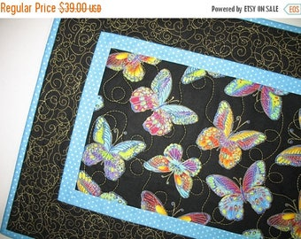 Sale Christmas in July Table Runner Butterfly,  quilted table runner, handmade, multicolored, gold metallic