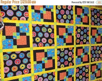 Sale Christmas in July Bright Chicken handmade lap quilt 56 x 72