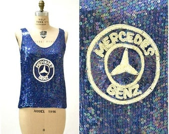 SALE 70s 80s Vintage Blue Sequin Tank Top with Mercedes Benz by Jeanette St martin size Medium// Vintage Sequin Car shirt race car top