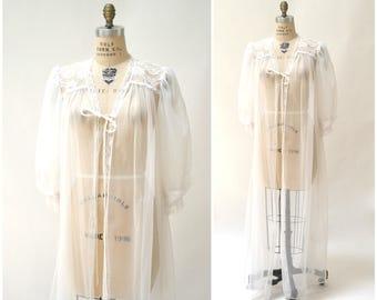 Vintage Peignoir White Large Wedding Honeymoon Robe Nightgown by Val Mode// 70s 80s Vintage Lingerie Peignoir Robe Sheer
