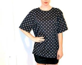 SALE 50% OFF 80s Vintage Polka dot shirt Top Black and White Polka Dot Shirt Blouse Size Medium Large