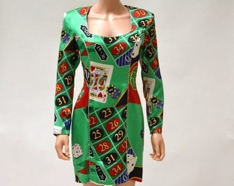 SALE Vintage Nicole Miller Dress Silk with Las Vegas, Gambling, Poker Night Black Jack Size Small// Vintage Poker Dress Green Silk Pop Art P