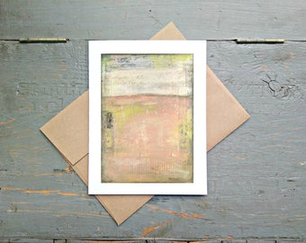 """Abstract Art Card, 5x7"""" Greeting Card with Kraft Brown Envelope, Mixed Media Card, Recycled Card, Eco-Friendly, Pink Card """"Camellia"""""""