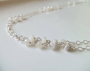 White Sapphire Natural Gemstone Wire Wrapped Handmade Necklace with Sterling Silver Long Necklace