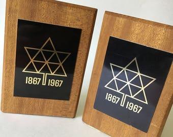 1867 1967 Canadian Confederation teak wood midcentury vintage bookends brass