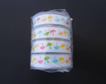 4 Spools Of American Craft Ribbon - 4 Feet On Each Spool - Umbrella Grosgrain Ribbon