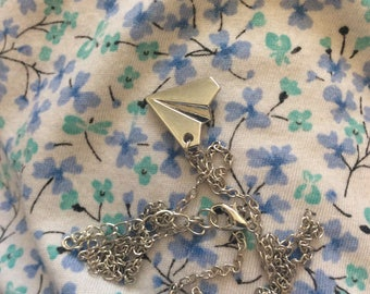Paper airplane charm necklace Silvertone