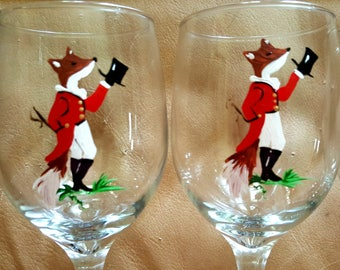 Mr Fox ready for the Fox Hunt hand painted wine glasses.  Set of 4