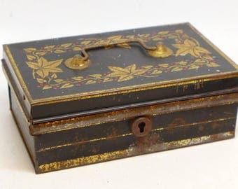 Tin Cash Bank Box with Cash Drawer - Vintage Tin Cash Box - Money Box - Tin Cash Drawer - Stenciled Tin Cash Box