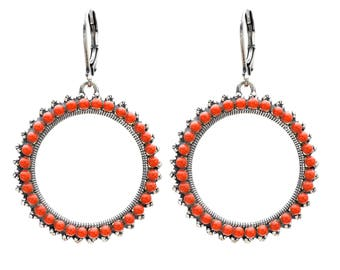Circle Hoop Earrings of Coral Cabochons in Antique Silver Open Circle Hoops Dangle Earrings Holiday Gift for her