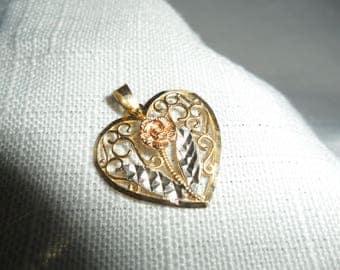 Vintage 10K Gold Filagree Heart Tri Tone Heart Pendant