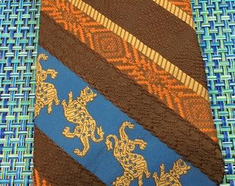 1960's Mens Wide Textured Diagonal Striped Polyester Necktie with Griffon Design- mens wide necktie, 1960's necktie, griffon tie