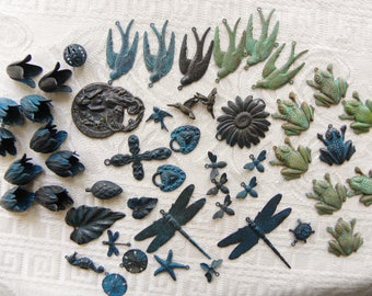 Destash Lot of Charms & Pendants, Blue, Green Verdigris Patina Brass Stampings, Great Detail,  50 Pieces