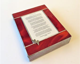 RESERVED for MELISSA Stained Glass Keepsake Anniversary Gift Box Wedding Poem Handmade Custom Made-to-Order