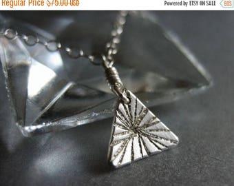 SALE Tiny Burst Triangle Sterling Silver Necklace