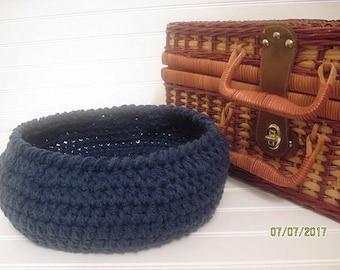 Crochet Basket, Dorm Decor, Windsor Blue, Home Decor Basket, Storage Basket, Minimal Decor, Storage Bin, Contemporary Decor, Fruit Basket